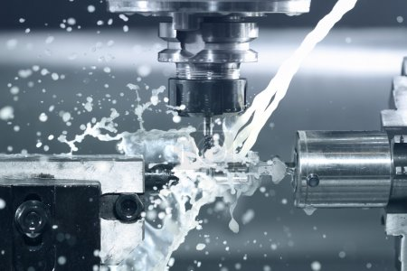 Photo for Close up of CNC machine at work - Royalty Free Image