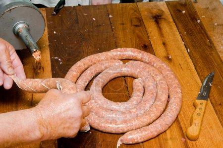 Finishing sausage filling