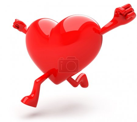 Photo for Heart shaped mascot running - Royalty Free Image