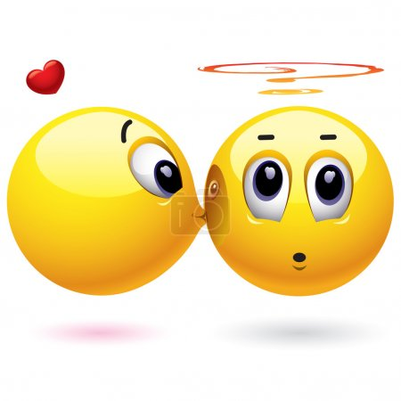 Illustration for Smiling ball kissing another who is surprised - Royalty Free Image