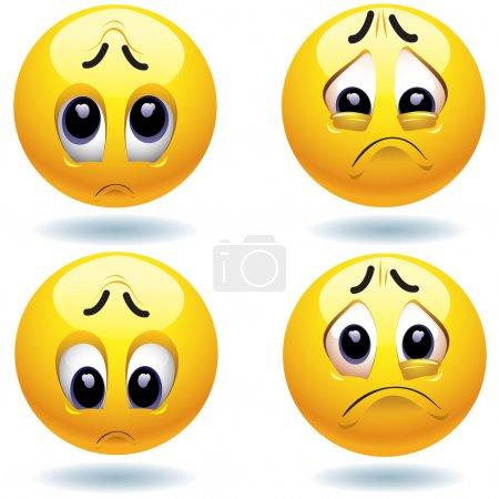 Illustration pour Quatre tristes boules souriantes qui te regardent - image libre de droit