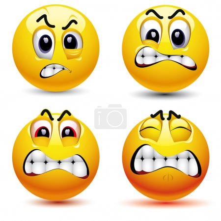 Illustration for Smiling balls with different face expression of anger - Royalty Free Image