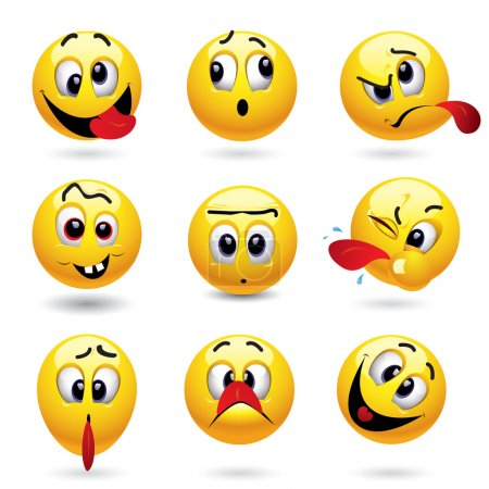 Illustration for Smiley balls showing funny face - Royalty Free Image