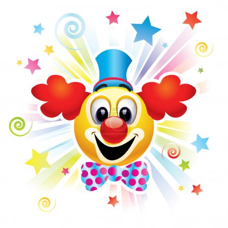 Illustration for Smiley ball as clown in the circus - Royalty Free Image
