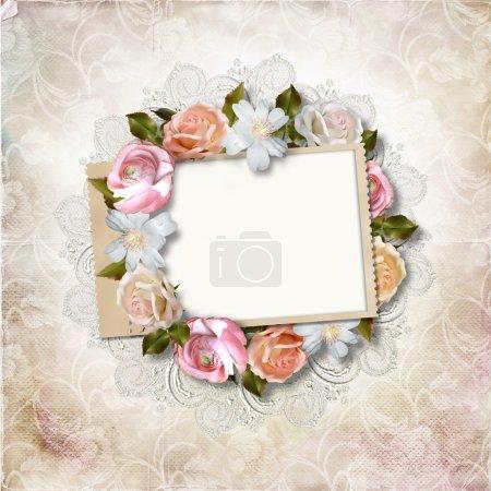 Photo pour Fond vintage avec cadre timbré et roses pour félicitations et invitations avec espace pour photo ou texte - image libre de droit