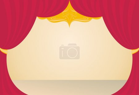 Illustration for Stage in a theater, a red curtain, beige floor, background - Royalty Free Image