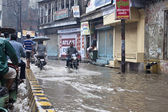 Flooded street in Varanasi