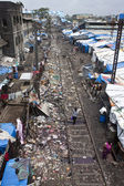 Slum near railway in Mumbai