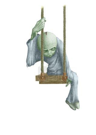Photo pour Sombre tableau des poupées mortes, assis sur une balançoire - image libre de droit