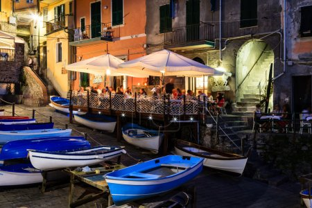 Illuminated Street of Riomaggiore in Cinque Terre at Night, Ital