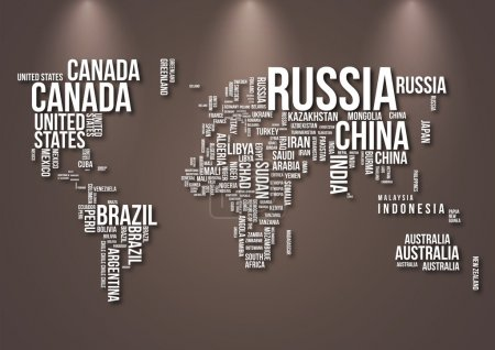 Illustration for Detailed World Map with all Names of Countries - Royalty Free Image