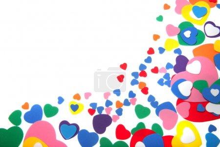 Colorful foam confetti hearts