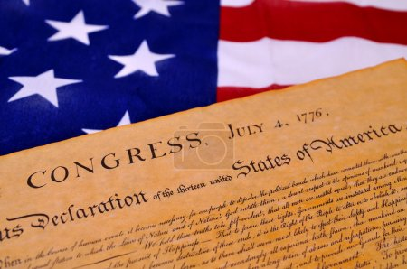 Photo for Declaration of Independence with United States flag background - Royalty Free Image