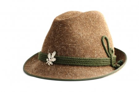 Photo for Hunter's hat made from sheep wool and decorated - Royalty Free Image