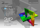 2012 Calendar Vector Illustration with Puzzle vector element