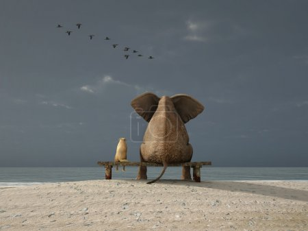 Elephant and dog sit on a deserted beach