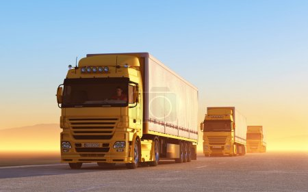 Photo for Convoy of trucks on road at sunrise - Royalty Free Image