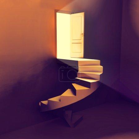 Stairs to open door