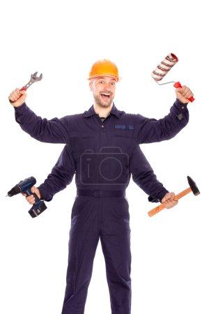Photo pour Travailler avec un sourire sur votre visage à quatre mains - image libre de droit