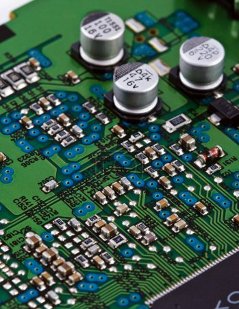 Photo for Different electonic elements on circuit board - Royalty Free Image