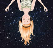 Vector girl upside down listening to music of space