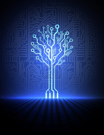 Vector circuit board background with electronic tree. eps10