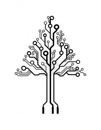Illustration pour Arbre de circuit imprimé triangle logo vectoriel - image libre de droit