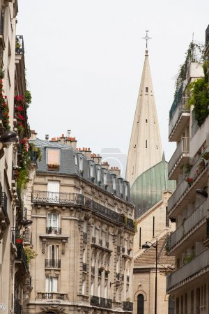 Classic street view of paris buildings