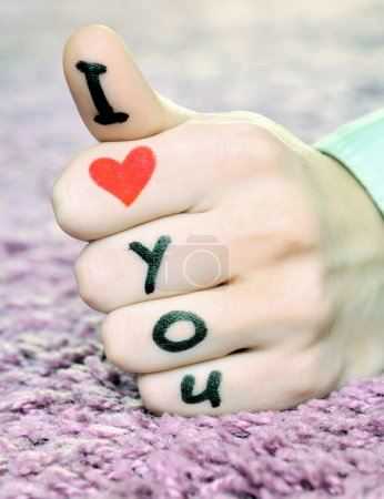 """Photo for """"I love you"""" on a hand on valentine's day - Royalty Free Image"""