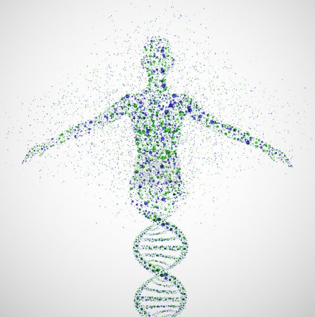 Photo for Abstract model of woman of DNA molecule. Eps 10 - Royalty Free Image