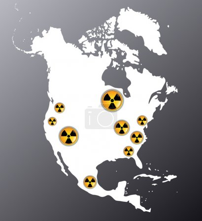 Illustration for Map of North America showing signs of radiation, where are the biggest nuclear power plants - Royalty Free Image