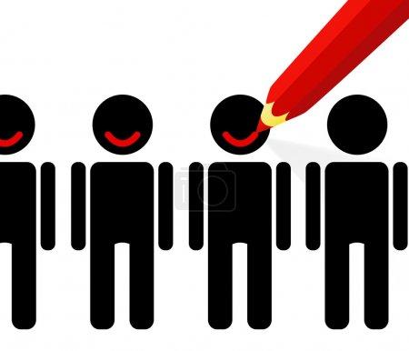 Illustration pour Crayon rouge dessine un sourire sur les visages de (satisfaction des clients ) - image libre de droit