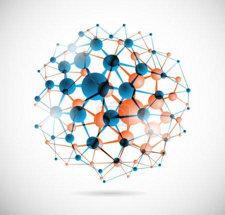Photo pour Image abstraite de la structure moléculaire sous la forme d'une sphère - image libre de droit