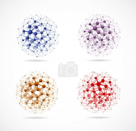 Photo for Set of colorful molecular structures in the form of a sphere. Eps 10 - Royalty Free Image
