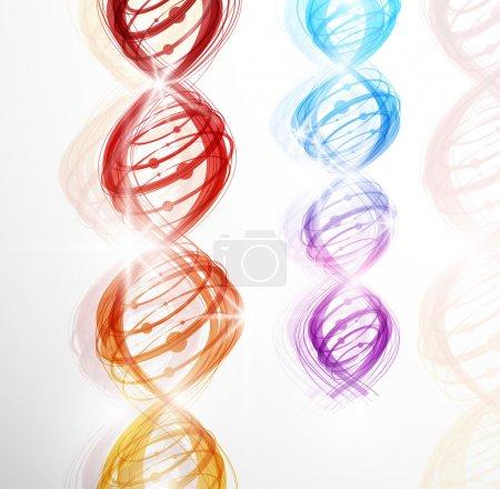 Illustration pour Fond abstrait avec une image colorée de la molécule d'ADN. Eps 10 - image libre de droit