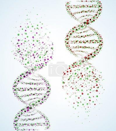 Illustration for Image of a DNA molecule, showing its destruction. Eps 10 - Royalty Free Image