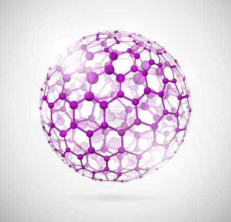 Illustration for Image of the molecular structure in the form of a sphere. Eps 10 - Royalty Free Image
