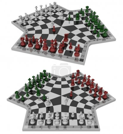 Three-handed chess, two views