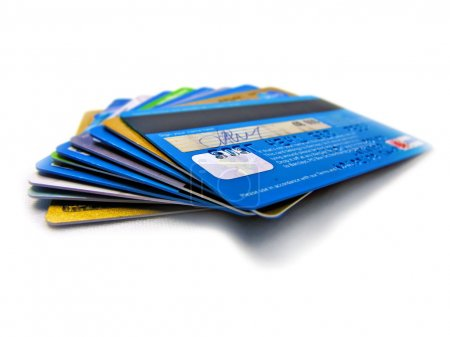 Credit and debit card stack electronic banking