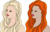 Beautiful blonde girl and charming red-hair girl Vector
