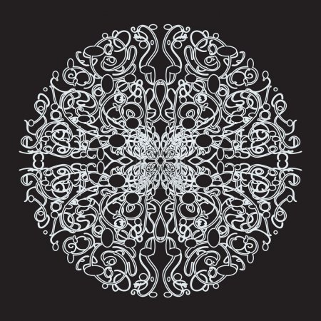 Illustration for Vector abstract lace pattern. White pattern on black background - Royalty Free Image
