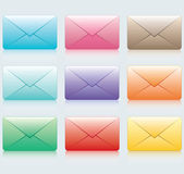 9 colors of envelopes Vector icons