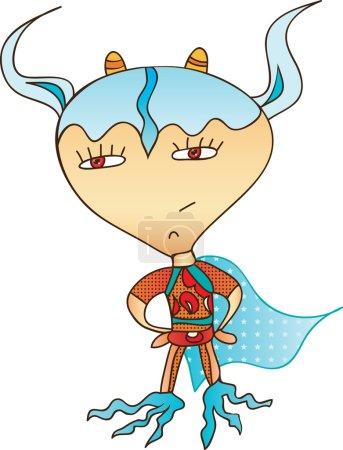 Illustration pour Amusant personnage de jouet pour les enfants - Super héros - image libre de droit