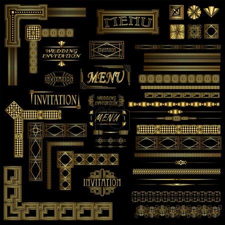 Illustration pour Menu décoratif or et éléments de bordure invitation - image libre de droit