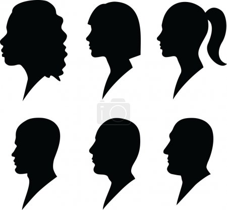 Illustration for Face to profile male and female - Royalty Free Image