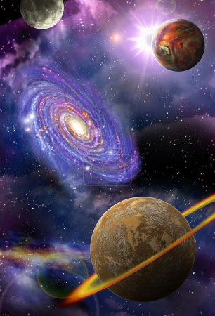 Photo for Distant galaxies and planets flying in outer space - Royalty Free Image
