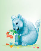 Dear blue mouse with red flowers