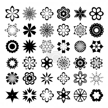 Set of graphical vector flowers