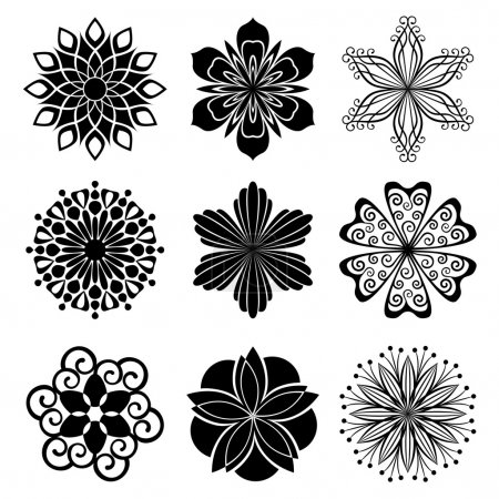 Illustration for Vector collection of graphic flowers - Royalty Free Image
