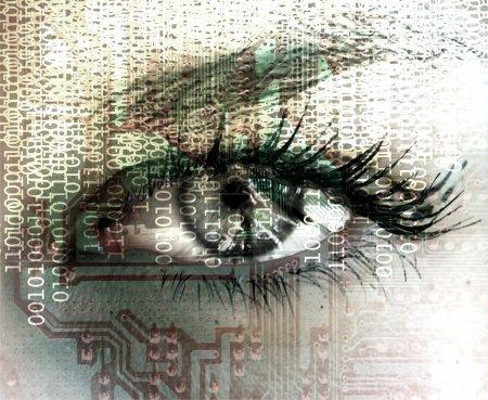 Photo pour Œil cybernétique lisant un code binaire . - image libre de droit
